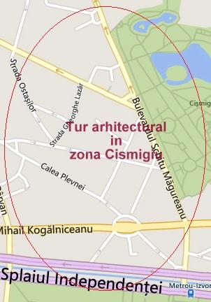 Tur arhitectural Case de Epoca in zona Cismigiu, Bucuresti